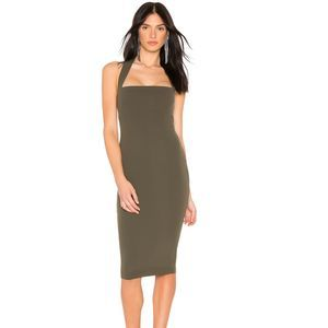 Nookie Boulevard Midi Fitted Dress in Olive Size S